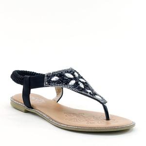 New Brieten Women's Elastic Ribbon T-strap Rhinestone Flip Flops Flat Sandals (5.5, Beige)