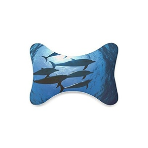 Custom Dolphins Memory Foam Plush Velour Neck Pillow with Adjustable Strap Stitch (Only One)