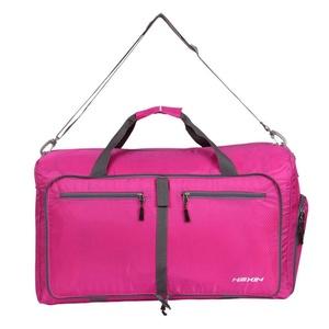 HEXIN Women and Men Travel Duffel Bag Foldable Lightweight Duffle Bags Pink