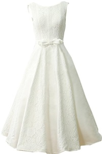 MILANO BRIDE Concise Tea-Length Sleeveless Backless Lace Wedding Party Dress-14-Light Ivory