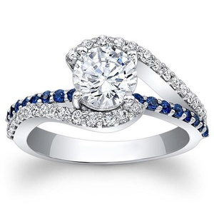 TVS-JEWELS Sapphire & CZ Round Cut Eternity Wedding Ring White Platinum Plated 925 Silver (9)