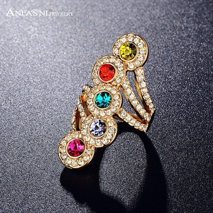 Slyq Jewelry Five Round Shaped Multi Color Ring Rose Gold PlatedSWA Stellux Austrian Crystal Ring Ri-HQ0193