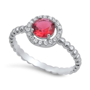 Halo Wedding Engagement Ring Round Simulated Ruby Brilliant Sparkly Cubic Zirconia 925 Sterling Silver