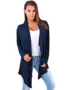 Doreen Women Long Sleeve Drape Open Front Asymmetrical Shawl Cardigan Coats Size S blue