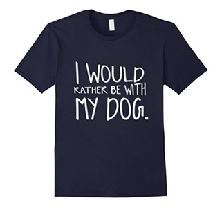 Men's I Would Rather Be With My Dog T Shirt BFF XL Navy
