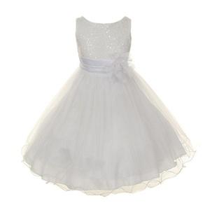 Kids Dream Little Girls White Sequin Bodice Floral Overlaid Flower Girl Dress 4