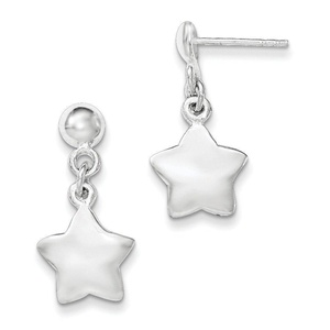 .925 Sterling Silver 22 MM Polished Star Dangle Post Stud Earrings