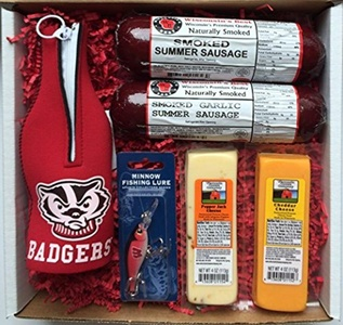 WISCONSIN'S BEST and WISCONSIN CHEESE COMPANY - BADGER FAN FISHING Gift Basket - features Smoked Summer Sausages,100% Wisconsin Cheeses and Badger Novelties - Great Gift