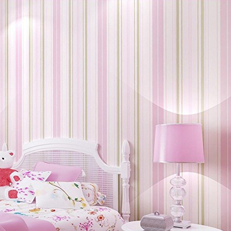 10 x 0.53 m Home Decoration Modern Non-Woven Wallpaper Rolls bedroom, Wallpaper Living Room Bedroom (Pink)