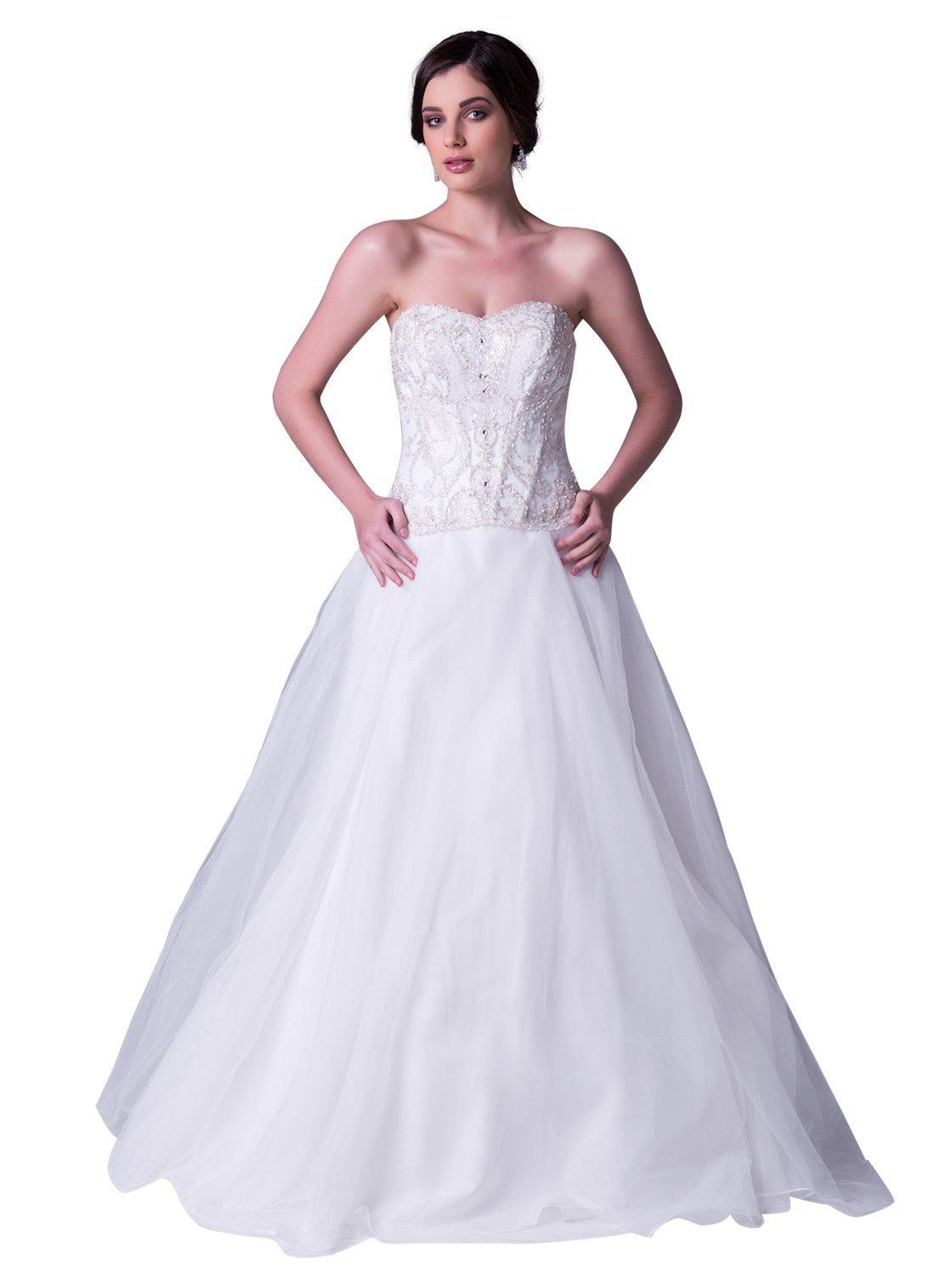 JOYNO BRIDE Women Ivory Strapless Beading Tulle A line Wedding Dress Gowns (2, Ivory)