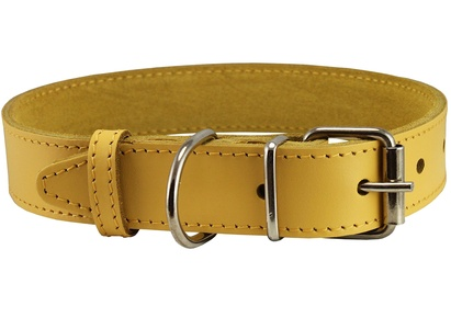 Genuine Leather Dog Collar Yellow 4 Sizes (13.5