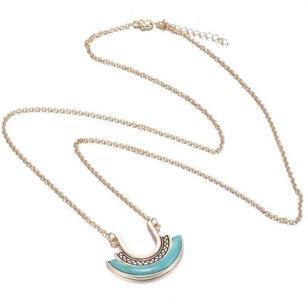 Gudeke Fashion Womens Bohemia Turquoise Stone Teardrop Tear Clavicle Sweater Necklace Pendant 80cm Chain