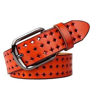 Women's Hollow Flower Genuine Cowhide Leather Belt With Alloy Buckle Jean Belt, Best Gift Idea (Orange)