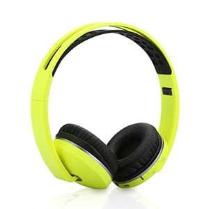Excelvan Wireless Bluetooth Stereo Headphones Foldable On-Ear Headsets, Built-in Mic, FM Radio/TF Card with Soft Earpads Earphones for iPhone, Android, PC, Laptop, Mp3/Mp4 (Fluorescent Green)