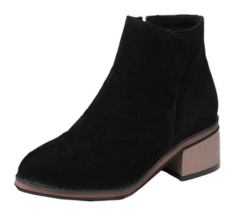 CHFSO Women's Elegant Waterproof Faux Fur Lined Zipper Mid Chunky High Ankle Warm Winter Martin Boots Black 9 B(M) US