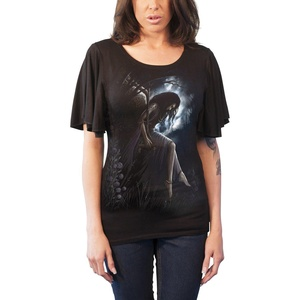 Spiral T Shirt Angel Lament Womens Goth Boat Neck Bat Sleeve Top Black