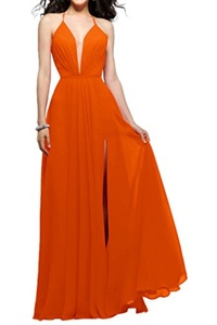 MILANO BRIDE Sexy Prom Party Dress V-neck Backless A-line Slit Chiffon Floor-Length-2-Orange