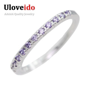 Dudee Jewelry Fashion Women Ring Female Silver Plated Wedding Engagement Ring Red Purple Crystal Stone Jewelry J029