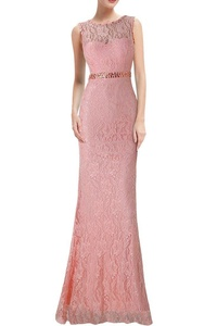 Avril Dress Exquisite Evening Lace V Back Wedding Guest Mother of Bride Dress New-6-Pink