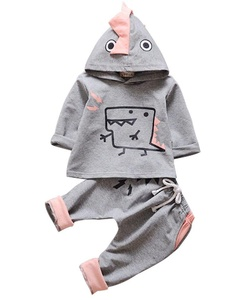 Kids Baby Boys Girls 2PCS Cotton Outfit Clothes Dinosaur Hoodie And Pants Set