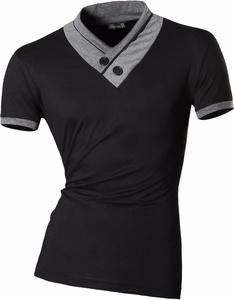jeansian Men's Fashion Lapel Striped Short Sleeves T-Shirts Tees Tops D729