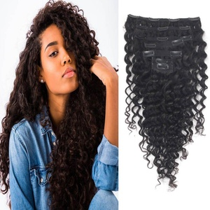 Freya Hair 7A Brazilian Virgin Hair Clip In Hair Extensions For Black Women Curly Wave Full Set With Clips 14 Inch Natural Color 7Pcs/Lot,100 Grams