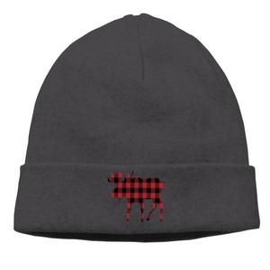 Style Unisex Buffalo Plaid Moose Red Black Cap Cool Beanies Hats