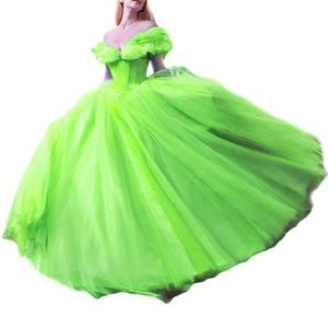 Favors Women's off shoulder Cinderella Ball Gown Prom Quinceanera Dress Light Green 2