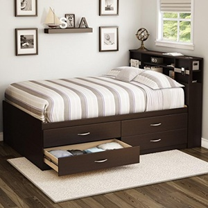 South Shore Step One Full Storage Platform Bed (Pure Black)