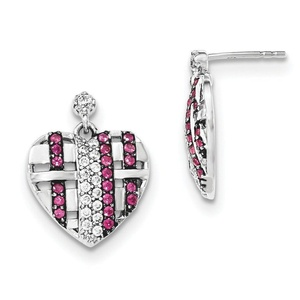 .925 Sterling Silver 20 MM Synthetic Ruby & CZ Heart Dangle Post Stud Earrings