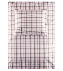 Rose Grey Yarn Dyed Plaid Cotton Duvet Quilt Cover 2pc Bedding Set Chic Pale Pink and Gray Tartan Check Teen Girls Twin Single