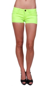 Machine Jeans Women Neon Green Shorts Jeans with 5 Pockets S Green