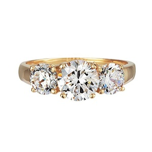 GR01190 SOLID 14K YELLOW OR WHITE GOLD 2CT TW 1CT CENTER / 0.5CT EACH SIDE BRILLIANT CUT ROUND CUBIC ZIRCONIA THREE STONE RING (white-gold, 10)