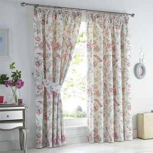 ORIENTAL BIRDS FLORAL PINK WHITE LINED 66