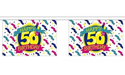 Happy 50Th Birthday Bunting 9M Metre Length With 30 Flags 9X6 Party Decoration by Happy 50th Birthday