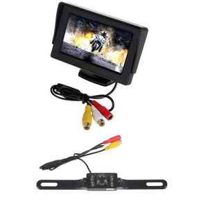 PolarLander 480H x 272V Resolution 2-channel Input Car Monitor 4.3 Inch Car Rear View Monitor + 7 IR LED Backup Night Vision Camera
