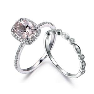 Oval Cut Morganite Ring Set,14K White Gold Half Eternity Wedding Ring,Milgrain Diamond Engagement Ring