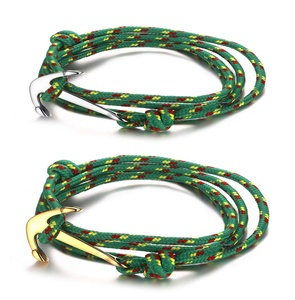 2 Pcs Set Stainless Steel Anchor Cuff Bracelets on Colorful Nylon Ropes for Men and Women
