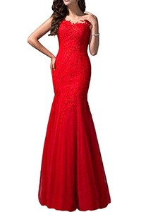 Audrey Bride Hot Sheer Mermaid Evening Dresses Lace Prom Dresses Party Gowns-18W-Red