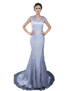 Favors Women's Sequin Scoop Neck Prom Dress Mermaid Lace Evening Formal Gown Sliver 12