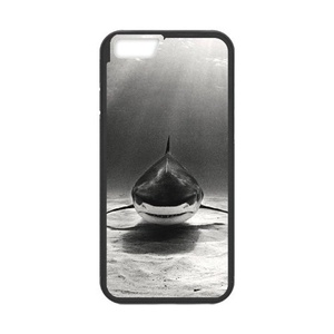 iPhone 7 plus Case,WXCVBN Rugged Black Big Shark Print Cover Case Skin for iPhone 7 plus (5.5 inch)
