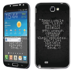 Samsung [Galaxy Note 2] Skin [NakedShield] Scratch Guard Vinyl Skin Decal [Full Body Edge] [Matching WallPaper] - [Strength Weakness Hate] for Samsung Galaxy [Note 2]