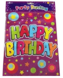 Happy Birthday Party Bunting 8 Flags 3.7M Long Banner by The fancy dress and party store