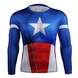 Avengers Classic Captain America Quick-Dry Sports 3D T-Shirt Gym Cycling Jersey (Asian-M)