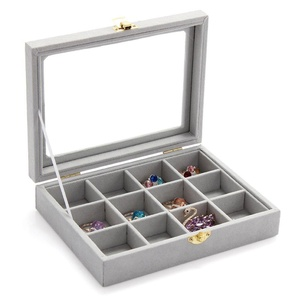 ONEONEY Classic 12 Section Display Jewelry Box / Case / Holder for Earrings, Rings, Necklaces, Jewelry, Cufflinks or Collections. 12 Small Compartments with Elegant Large Mirror-(Gray)