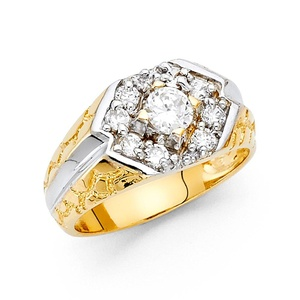 Men's 14K Solid Gold Brilliant White Round Cut Cubic Zirconia Ring, Size 8.5