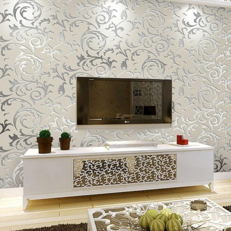 10M European Damask Victorian Embossed Textured Wallpaper Roll, Wallpaper Living Room Bedroom (Silver-Grey)