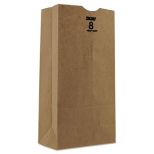 #8 Paper Grocery Bag, 50lb Kraft, Heavy-Duty 6 1/8 X 4 1/8 X 12 7/16, 500 Bags