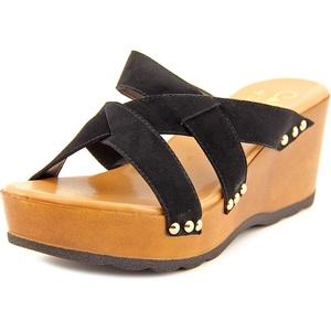 Callisto Syrah Women Open Toe Suede Black Wedge Sandal