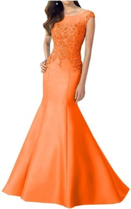 Avril Dress Glamorous Applique Lace Evening Mermaid Satin Party Dress New-8-Orange